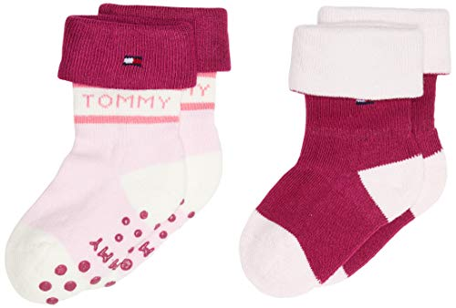 Tommy Hilfiger Th Baby Sock 2p Fold Over calcetines, combo rosa, 23-26 (Pack de 2) para Bebés