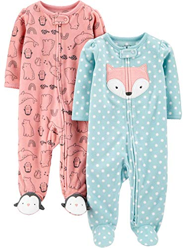 Simple Joys by Carter's 2-Pack Fleece Footed Sleep and Play Infant Toddler-Pajama-Sets, Zorro/Rosa Animal, 0 Meses, Pack de 2
